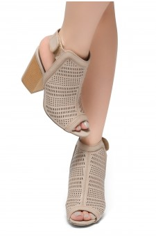 HerStyle Emilina-Block heel, Peep Toe Open Back Booties (Blush)