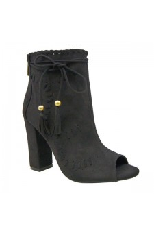 Women's Black Tassel Heel Booties ENCOUNTER