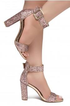 Shoe Land ENLOVE-Chunky heel, ankle strap (1926 RosegoldGlitter)