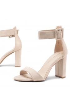 Shoe Land ENLOVE-Chunky heel, ankle strap (Beige)