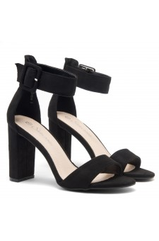 Shoe Land ENLOVE-Chunky heel, ankle strap (Black)