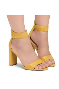 Shoe Land ENLOVE-Chunky heel, ankle strap (Mustard)