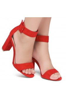 Shoe Land ENLOVE-Chunky heel, ankle strap (Red)