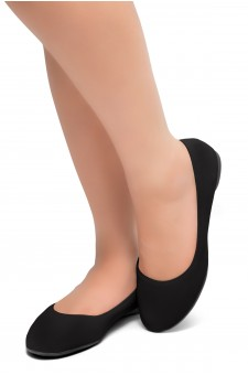 HerStyle Ever Memory -Almond Toe, No detail, Ballet Flat (Black)