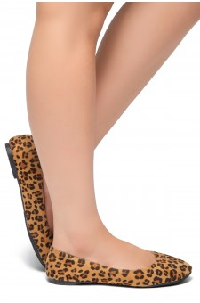 HerStyle Ever Memory -Almond Toe, No detail, Ballet Flat (Leopard)