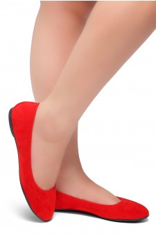HerStyle Ever Memory -Almond Toe, No detail, Ballet Flat (Red IM)