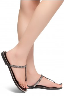 HerStyle Exotic-T Strap Thong Rhinestone Details Open Toe Slide Sandal (Black)