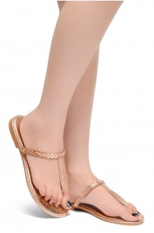 HerStyle Exotic-T Strap Thong Rhinestone Details Open Toe Slide Sandal (RoseGold)