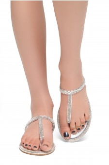 HerStyle Exotic-T Strap Thong Rhinestone Details Open Toe Slide Sandal (Silver)