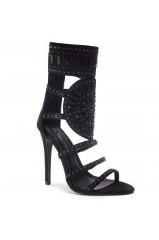 HerStyle Fashion Crowd stiletto heel, jeweled embellishments (BlackBlack)