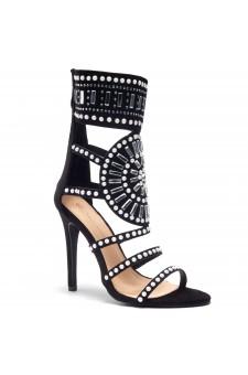 HerStyle Fashion Crowd stiletto heel, jeweled embellishments (Black)