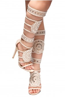 HerStyle FASHION CROWD HI- stiletto heel, jeweled embellishments (Nude)