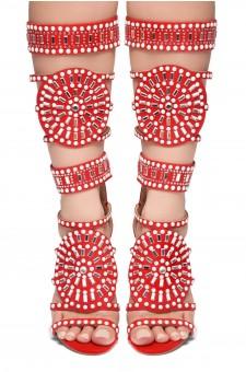 HerStyle FASHION CROWD HI- stiletto heel, jeweled embellishments (Red)