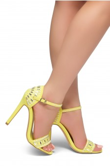 HerStyle Fashion Glam Ego- stiletto heel, jeweled embellishments (Yellow)