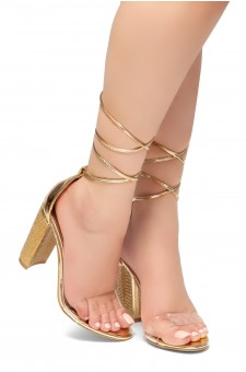 HerStyle FEBRUARY-Open Toe, Jeweled Embellished Chunky Heel, Ankle lace-up (Clear RoseGold)