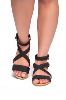 HerStyle Fidela Buckled Strappy Gladiator Flat Sandal (Black)