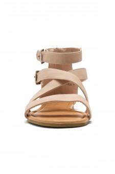 HerStyle Fidela Buckled Strappy Gladiator Flat Sandal (Mauve)