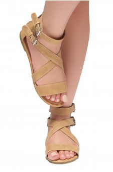 HerStyle Fidela Buckled Strappy Gladiator Flat Sandal (Tan)