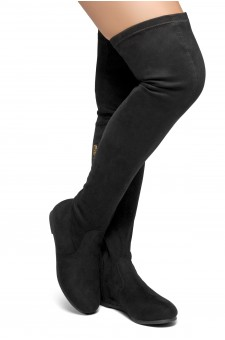 HerStyle Fifth Avenue Women's Fashion Drawstring thigh high Flat Boots (Black)