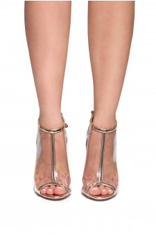 HerStyle Fiolla Metallic, Perspex booties (Clear Rose Gold)