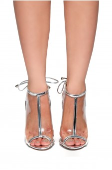 HerStyle Fiolla Metallic, Perspex booties (Clear Silver)