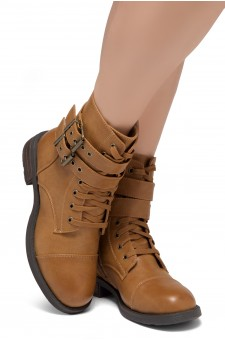 Women's Florence 2 Military Lace up, Double Buckled, Middle Calf Combat Boots(1721/Tan)