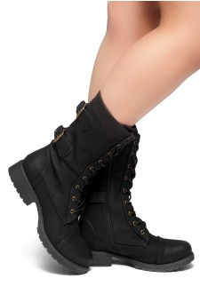 Women's Black Florence 2 Military Lace up, Double Buckled, Middle Calf Combat Boots
