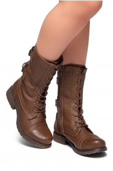 Women's Brown Florence 2 Military Lace up, Double Buckled, Middle Calf Combat Boots