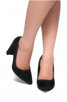HerStyle Floriza-Pointy toe, chunky heel pumps (Black)