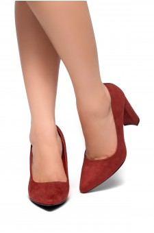 HerStyle Floriza-Pointy toe, chunky heel pumps (Burgundy)