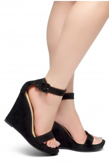 HerStyle Forever Together-Ankle Strap Open Toe Platform Wedge (Black)