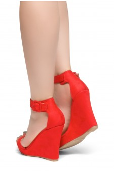 HerStyle Forever Together-Ankle Strap Open Toe Platform Wedge (Red)
