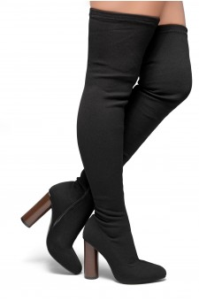 Women's Black Fressa Sock fit boots, Knit Stretch thigh high boots, and cylinder stacked heel