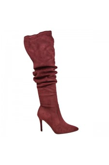 Women's Burgundy Thigh High Stretchy Suede Material Pointy Toe Stiletto Heel Boots GABRIANNA