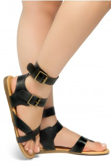 HerStyle Women's GABRIELLEH-Unique Simplistic Crisscross Straps Vamp with Dual Buckles Sandals (Black)