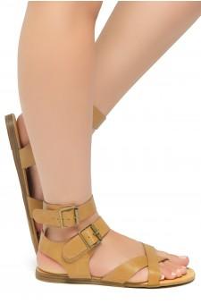 HerStyle Women's GABRIELLEH-Unique Simplistic Crisscross Straps Vamp with Dual Buckles Sandals (Cognac)