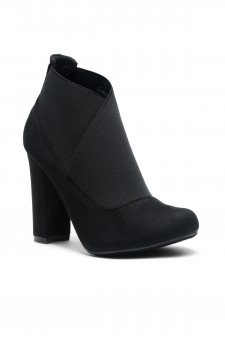 Women's Black Gaella Chunky Heel Booties with elastic gusset wraparound detail at vamp
