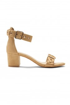 HerStyle Gaellaa Ankle Strap, Buckled, Open Toe, Block Heel (Tan)
