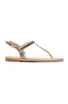 HerStyle Gammee Metallic Rhinestone Thong Flat Sandal (Gold)