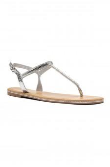 HerStyle Gammee Metallic Rhinestone Thong Flat Sandal (Silver)