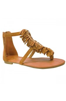 Women's Tan Geenna T-Strap Flat Sandal with Fringed Vamp