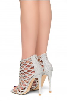 HerStyle Get Higher-Jewel embellishments, back zipper, stiletto heel (Silver)