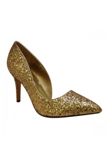 Women's Gold Manmade Glorius Pointed-Tee Pump with Glittering Upper
