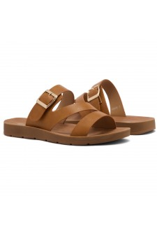Shoe Land GORIE-Open Toe Buckled Slide-On Sandal (Cognac)