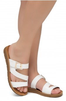 Shoe Land GORIE-Open Toe Buckled Slide-On Sandal (White)