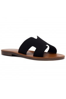 HerStyle Greece- Lightweight Flat Easy Slide-On Sandals (Black)