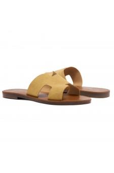 Shoe Land Greece- Lightweight Flat Easy Slide-On Sandals (1901/Mustard)