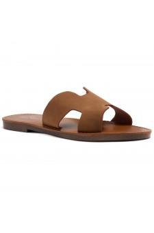 Shoe Land Greece- Lightweight Flat Easy Slide-On Sandals (1901/Tan)