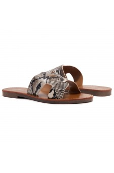 Shoe Land Greece- Lightweight Flat Easy Slide-On Sandals (NAT/SNK)