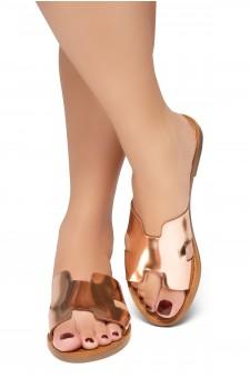HerStyle Greece- Lightweight Flat Easy Slide-On Sandals (RoseGold)